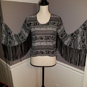 See You Monday Blouse with Elephants and Fringe